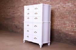 John Widdicomb French Provincial Louis Xv White Lacquered Highboy Dresser