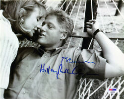 President Bill Clinton And Hillary Clinton Signed 8 X 10 Bandw Photo Psa/dna