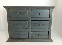Vintage Blue Apothecary Herb Spice Cabinet Wood Chest Antique Box 6 Drawers