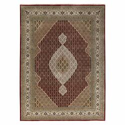 8and03910x12and0392 Hand Knotted Wool And Silk Red Fish Design Tebraz Mahi Rug G58799