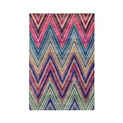 5and039x7and039 Colorful Hand Knotted Chevron Design Sari Silk Textured Wool Rug G59531