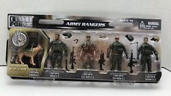 Elite Force Army Rangers 4 Action Figure 5 Pack + Exclusive K9 Dog 118 Bbi Mip