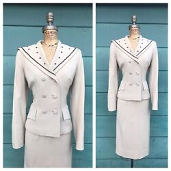 1950andrsquos Vintage 50s Beaded Gabardine Beige Tan Double Breasted Skirt Dress Suit S