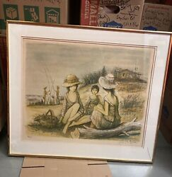 Jacques Lalande Print Signed Numbered 3 Girls On The Beach