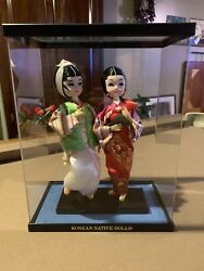 Vintage Korean Traditional Native Dolls Male And Female Wedding Pair In Display