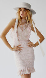 Free People Women's Pink Victorian Apron Mini Party Dress By Nightcap L Large