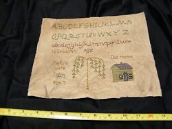 1871 Antique Sampler Abc's Numbers Willow Tree Our Home Mary Age 7 Needlepoint