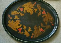 Large 22 L Antique English Gilt Red Christmas Toleware Tin Tray Platter Display