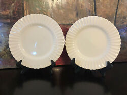 2 Classic White By Meakin J And G England Dinner Plates 10.50 Ribbed Rim Scallop