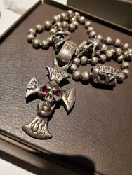 Bill Wall Leather Cross And Skull Silver Necklace With Box California From Japan
