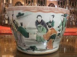 An Excellent Chinese Qing Dynasty Wucai Porcelain Planter Kangxi Nianzhi Marked.