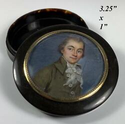 Antique French Portrait Miniature C.1800-30s Gentleman Set In Table Snuff Box