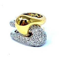 14k Yellow And White Gold Diamond Two Piece Puzzle Ring