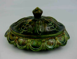 Arnels Art Pottery Signed Lorene Green And Brown Draped Dripped Glaze Covered Dish