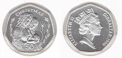 Gibraltar Silver Proof 50 Pence Coin 1990 Year Christmas Km47a Mary And Joseph