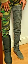 Vintage Isaac Mizrahi Designer Suede Thigh High Boots Over The Knee Size 7 - 7.5