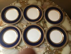 Crown Ducal Cobalt Blue And Gold Trim 6 Butter Plates England
