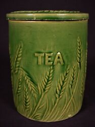 Rare Antique Hull Green Glaze Wheat Design Tea Canister And Lid Yellow Ware Mint