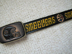 Pittsburgh Steelers Genuine Leather Belt And Matching Leather Buckle -cut To Size