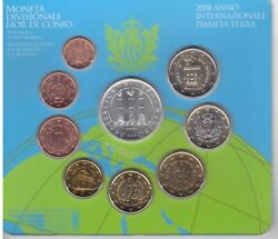 San Marino 9 Dif Unc Coins Set 1 Cent - 5 Euro Silver 2008 Year Mint Pack