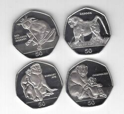 Gibraltar New 4 X 50 Pence Unc Coins Set 2018 Year Monkey Chimpanzee Baboon Apes