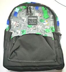 New Minecraft Overworld All Over Kids School Backpack Charcoal 17quot; $25.46
