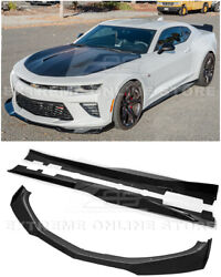 For 16-up Camaro Ss | Zl1 1le Style Glossy Black Front Lip Splitter And Side Skirt