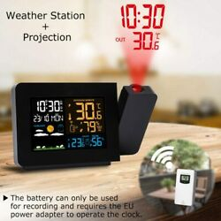 Digital Led Projection Alarm Clock Backlight Calender Weather Thermometer Snooze