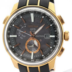 Seiko Astron Sas032j1 Gold Plated Rubber Solar Gps Menand039s Watch [b1210]