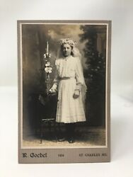 Cabinet Card Photo Young Girl Bridesmaid Flowers White Dress R Goebel St Charles