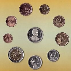 South Africa – 10 Dif Unc Coins Rare Set 0.01 - 5 Rand 2000 Year Nelson Mandela