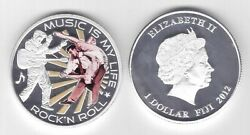 Fiji Colored Silver Plated 1 Proof Coin 2012 Year Km214 Music Elvis Presley