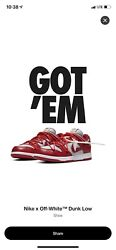 100 Authentic Nike Dunk Low Off-white University Red Size 11.5 - Ct0856-600
