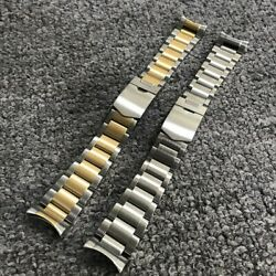 22mm Half Gold Silver Solid Curved End 316l Steel Watch Band For Tudor Black Bay
