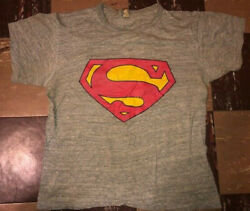 Old Rare Vintage 1950s 60s Superman 15 Rayon Iron On T Shirt Sportswear Tag M