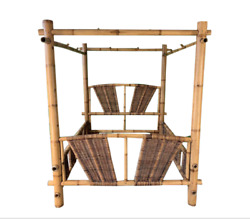 Vintage Bamboo Rattan Caribbean Island Beach Chic Queen Canopy Bed