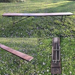 8andrsquo Long Antique Ww1 Folding Navy Bench Pine Wood With Cast Legs Nautical Naval