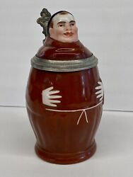 """Antique German Porcelain Character Beer Stein """"monk"""" W/ Lithopane - Ca. 1870's"""
