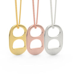 Set Of 3 14kt Yellow, 14kt Rose And 14kt White Solid Gold Soda Tab Pendants