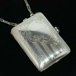 Antique German Silver Compact Coin And Dance Purse With A Cabochon Amethyst Clasp