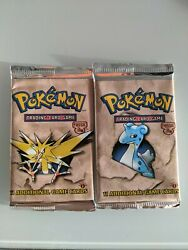 Pokemon Fossil 1st Edition 2 Booster Packs New Factory Sealed Lapras Zapdos Art