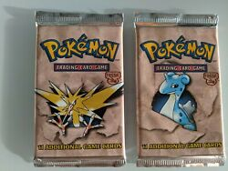 Pokemon Fossil Booster Packs 2 Packs Factory Sealed Mint New Lapras Zapdos Art