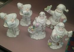 Lot Of 5 Lenox Santa Figurines Holding Gift Making List Holly Mail 2007