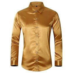 Menand039s Shirt Faux Silk Satin Glossy Tops Long Sleeve Button Front Slim Fit Shirts