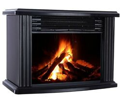 Portable Electric Fireplace Space Heater Stove Large Log Flame Free Standing New
