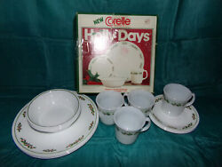 Corelle By Corning Holly Days Vintage Service For 4 Dinnerware Set Minus 1 Bowl