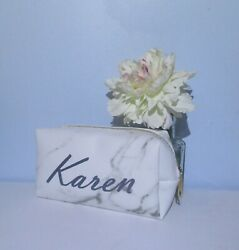 Personalized Cosmetic Case Bag Marble Gray White Custom Name Gift Bridesmaid $9.99