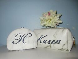 Personalized Cosmetic Case Bag Marble Manicure Pedicure Set Custom Name Gift Lot $14.99