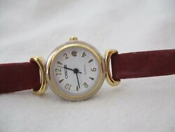 Cherokee Watch Brown Leather Buckle Band Gold Toned Round Face Date Indicator