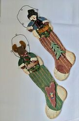 Set Of 2 Country Primitive Wood Stocking Christmas Hanging Decorations